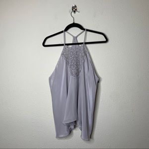 Rebecca Taylor Gray Silk Lace Halter Top
